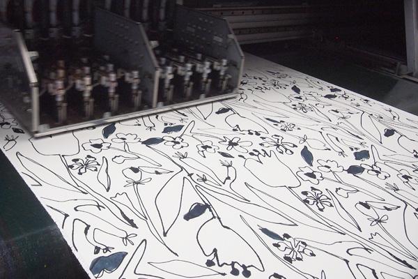 京都の染工場で捺染
